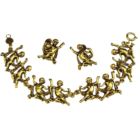 Accessocraft Demi Parure Bracelet & Earrings Golden Cherubs