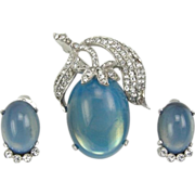 Jomaz Vintage Demi Parure Brooch Earrings Stylized Plum Fruit