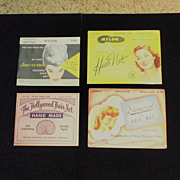 Four Vintage Hairnet envelopes with hairnets within