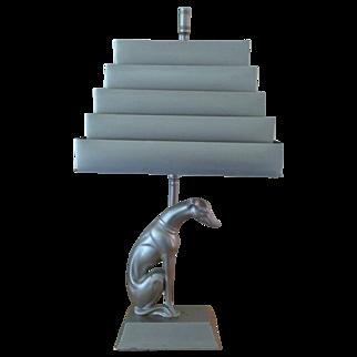 Art Deco Figural Lamp. Deco Shade- Greyhound Deco