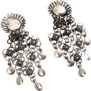 Vintage 1000 Sterling Silver Middle Eastern Etruscan Revival Dangle Earrings- Clip On