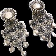 Vintage 1000 Sterling Silver Middle Eastern Etruscan Revival Dangle Earrings- Clip On