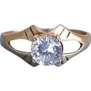 10K Yellow Gold CZ Solitaire Ring ~ Sz 8, 3 Grams