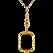 10K Yellow Gold Art Deco Onyx Pendant Necklace, Taille D'Epargne Tracery Enamel
