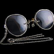 Antique 10K White Gold Pince Nez Pinched Nose Eyeglasses w/ Hair Pin & Case, Shur-On