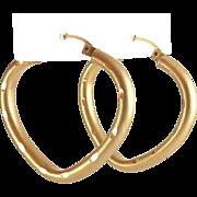 10K Satin Finish Pointed Hoop or Heart Hoop Earrings, Pierced
