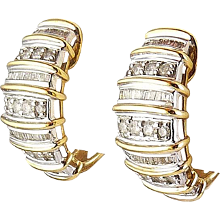 10K Yellow & White Gold Half Hoop Earrings, Square & Round Diamond Rows, Pierced