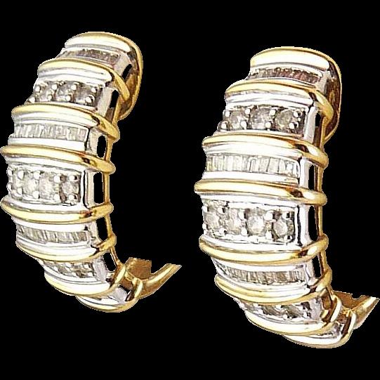 10K Yellow & White Gold Half Hoop Earrings, Square & Round Diamond Rows, Pierced