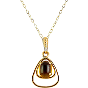 English 9K Yellow Gold Triangle Pendant with Citrine Cabochon, Gold Necklace Chain