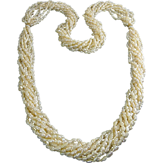 10 Strand Freshwater Pearl Torsade Necklace with Gold Beads, 36 Inches Long