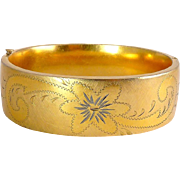 Wide 12K Gold-Filled Flower & Flourish Hinged Bangle, Florentine Texture