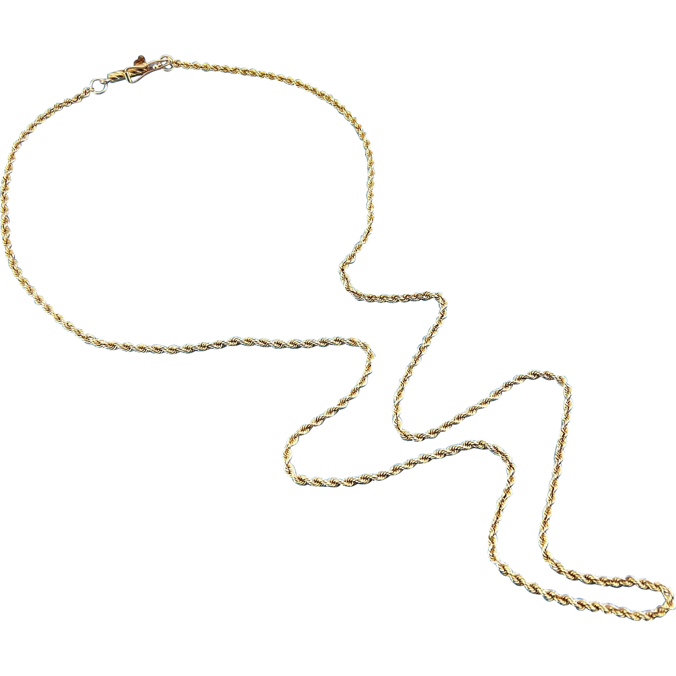 14K Yellow Gold Rope Chain Necklace, 18 Inches