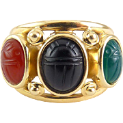 Egyptian Revival 14K Wide Band 3 Gemstone Carved Scarabs Ring~ 4.5 Grams