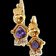 14K Gold and Purple & Crystal CZ Whimsical Figural Girl Earrings, Pierced