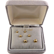 14K Yellow Gold Ball Stud Earrings Set, 3 Pairs, Pierced