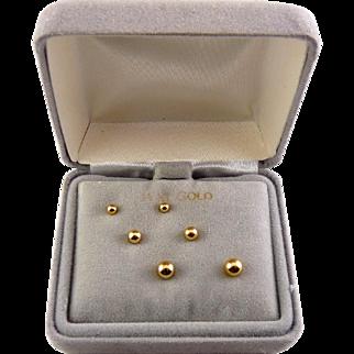 14K Yellow Gold Ball Stud Earrings Set, 3 Pairs, Pierced