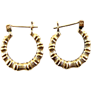 14K Bamboo Texture Hoop Earrings - Pierced