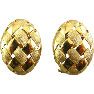 14K Yellow Gold Domed Oval Basket Weave Earrings  - Satin & Polished Finishes, Pierced