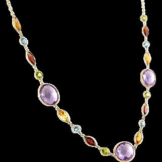 14K Gold & Collet-Set Multi Gemstones Necklace, Adjustable 6 Grams