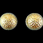 14K Yellow Gold, Diamond-Cut Facets Dome Earrings, Pierced