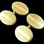 14K Yellow Gold Edwardian Oval Cufflinks, Engraved Stripes, 13.5 Grams