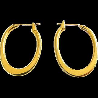 14K Yellow Gold Flat Oval Hoop Earrings, 1 Inch High, Pierced