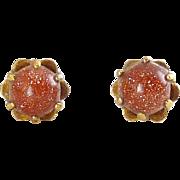 14K Yellow Gold & Goldstone Ball Pierced Earrings