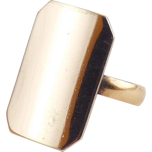 Antique Gold Shell Tall Signet Ring -Old Store Stock, Can Be Monogrammed