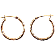 14K Yellow Gold Spiral Cut Hoop Earrings, Pierced