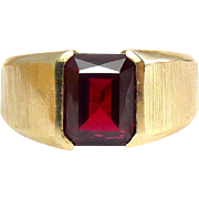 14K Yellow Gold Wide Men's Ring ~ 4 Ct Ruby – 6.8 Grams