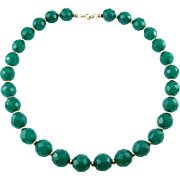 14K Gold & Green Crystal Faceted Beads Necklace - Look of Chalcedony
