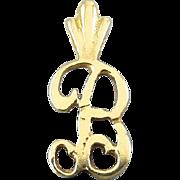 14K Yellow Gold Script Letter B Monogram Initial Pendant