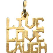 14K Yellow Gold LIVE, LOVE, LAUGH Pendant for Necklace