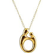 14K Gold Modern Classic Mother & Child Sliding Pendant on Chain Necklace
