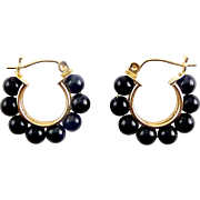14K Yellow Gold & Black Onyx Bead Hoop Earrings