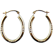 10K Yellow Gold Oval Hoop Earrings - Engraved Leaves, Pierced