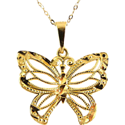 "14K Gold Fancy Pierced Butterfly Pendant with 18"" 14K Gold Necklace/Chain"