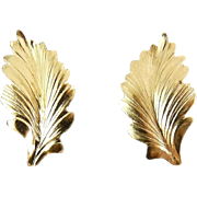 Long 14K Ribbed Leaves Earrings, Pierced