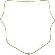 14K Yellow Gold Rope Chain Necklace with Single White Round Pearl