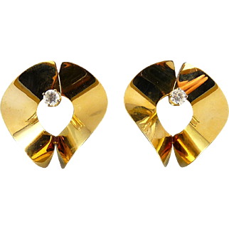 14K Gold Wide S-Curve Large Earring Jackets with Diamond Studs Set, 3.0 Grams