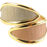 14K Gold Tricolor Bypass Ring, Adjustable Size - Pink Rose Gold, White Gold, Yellow Gold