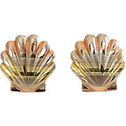 14K Tricolor Gold Scallop Shell Earrings, Pierced - White, Rose, Yellow Gold