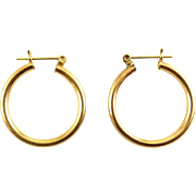 14K Yellow Gold Tubular Hoop Earrings, Pierced, 21mm Wide