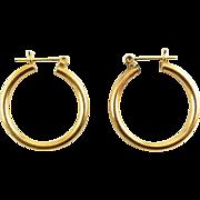 14K Yellow Gold Tubular Hoop Earrings, Pierced, 21mm Wide