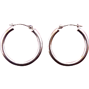 14K White Gold Hoop Earrings, Pierced