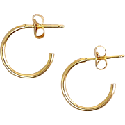 14K Yellow Gold J-Hoop Earrings, Pierced - 3/4 Hoops