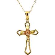 14K Yellow & Pink Rose Gold Cross Pendant with Flower, Gold Neck Chain