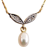 14K Yellow & White Gold Pearl Pendant with Diamond-Set Leaves