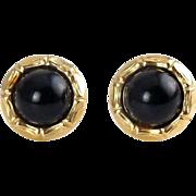14K Yellow Gold & Black Onyx Earrings-Bamboo Design, Pierced