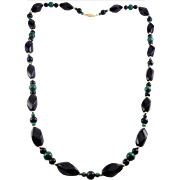 Carved Black Onyx, Malachite & 14K Yellow Beads Necklace - 28 Inches